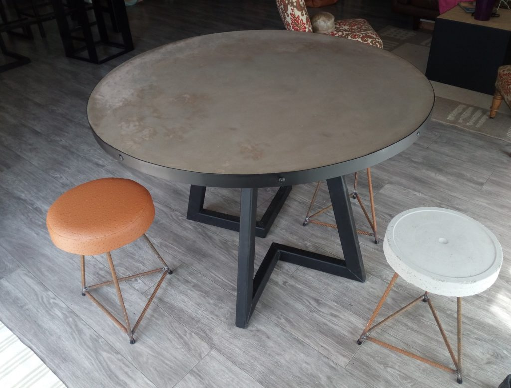 Table Ronde Beton Cire Mes Meubles Bois Metal