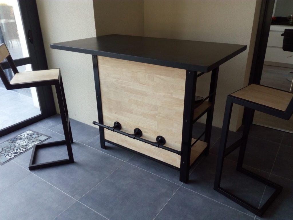 Table En Béton Ciré Et Bois bar en béton ciré noir – mes meubles bois-métal